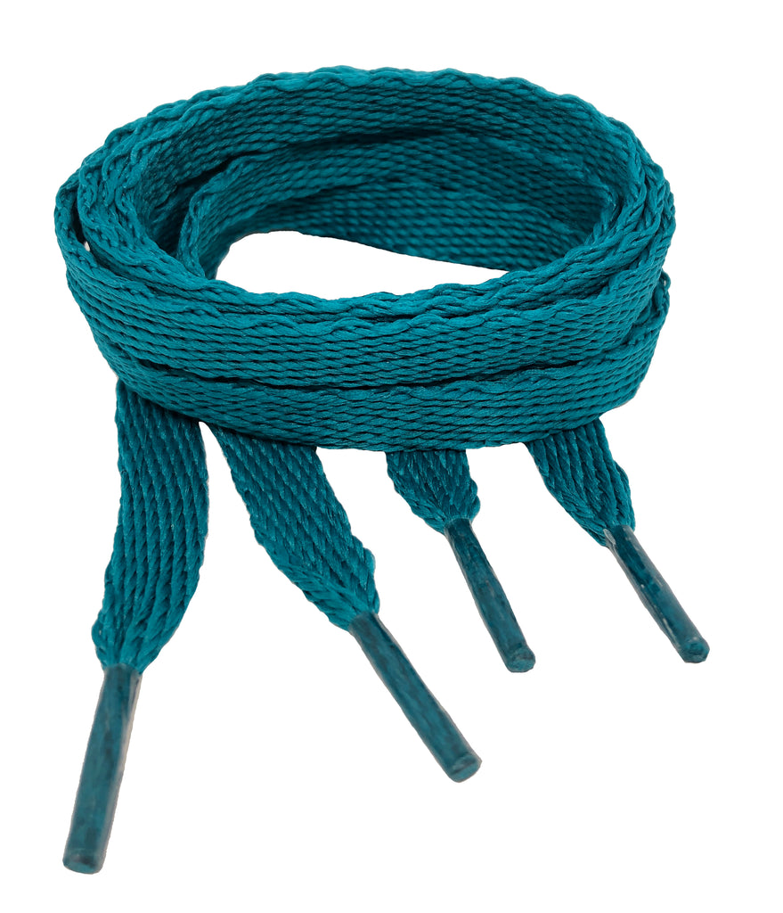 Flat Teal Shoelaces - 10mm wide