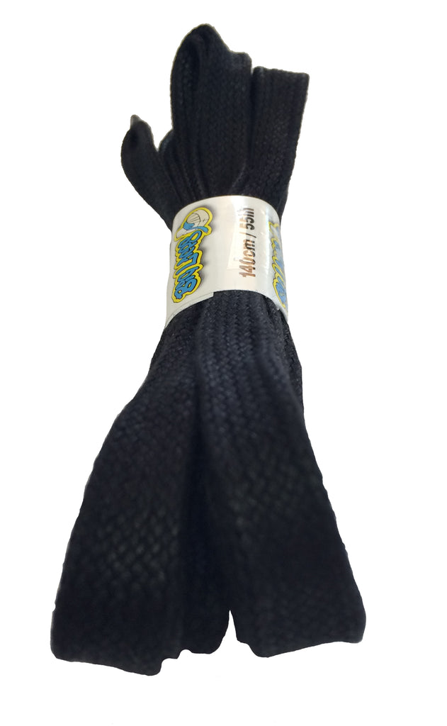 12mm wide flat waxed black shoelaces