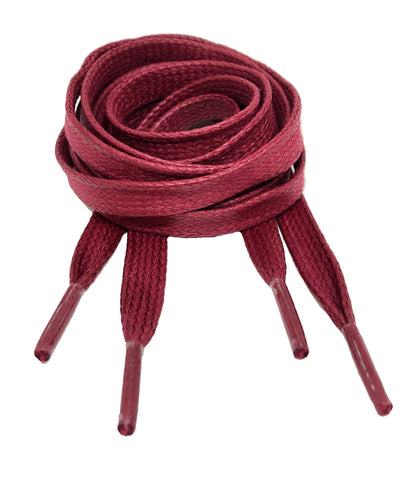 Flat Waxed Burgundy Cotton Shoe Laces - 8mm wide