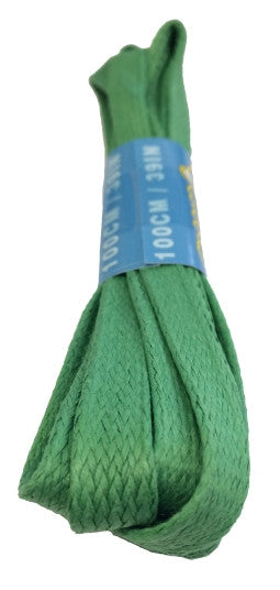 Flat Waxed Green Cotton Shoe Laces