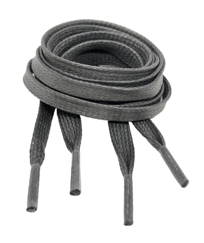 Flat Waxed Grey Cotton Shoe Laces