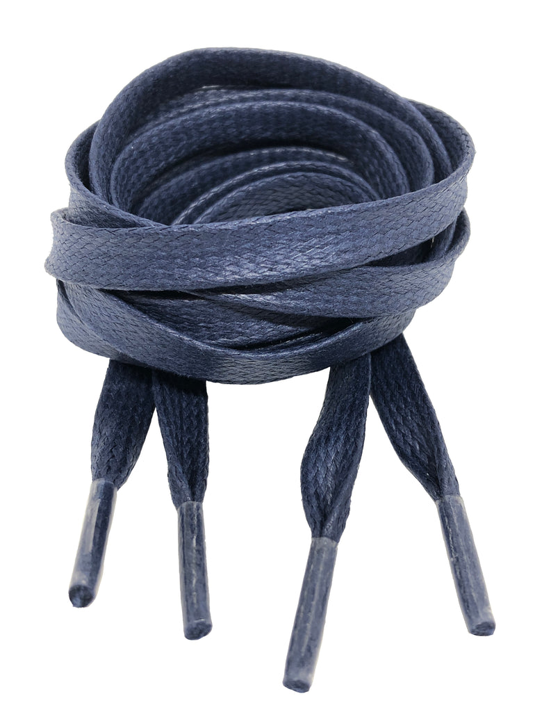Flat Waxed Navy Blue Cotton Shoe Laces - 8mm wide