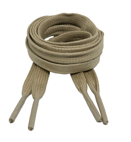 Flat Waxed Oatmeal Cotton Shoe Laces - 8mm wide