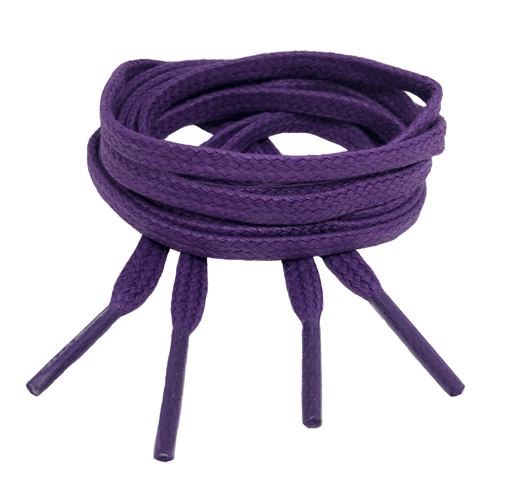 Flat Waxed Purple Cotton Shoe Laces - 4mm wide