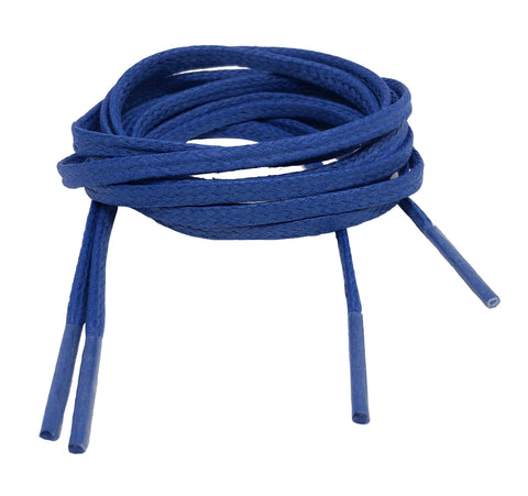 Flat Waxed Royal Blue Cotton Shoe Laces - 4mm or 8mm wide