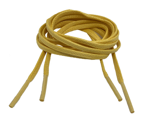 Flat Waxed Yellow Cotton Shoe Laces - 4mm or 8mm wide