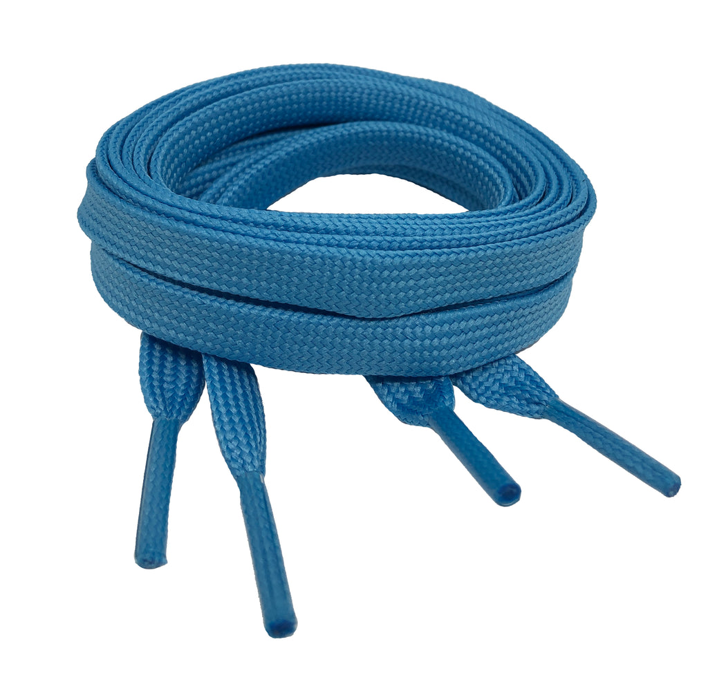 Flat Blue Shoelaces 8mm wide