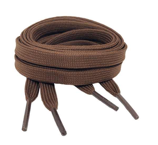 Flat Brown Shoelaces - 8mm wide