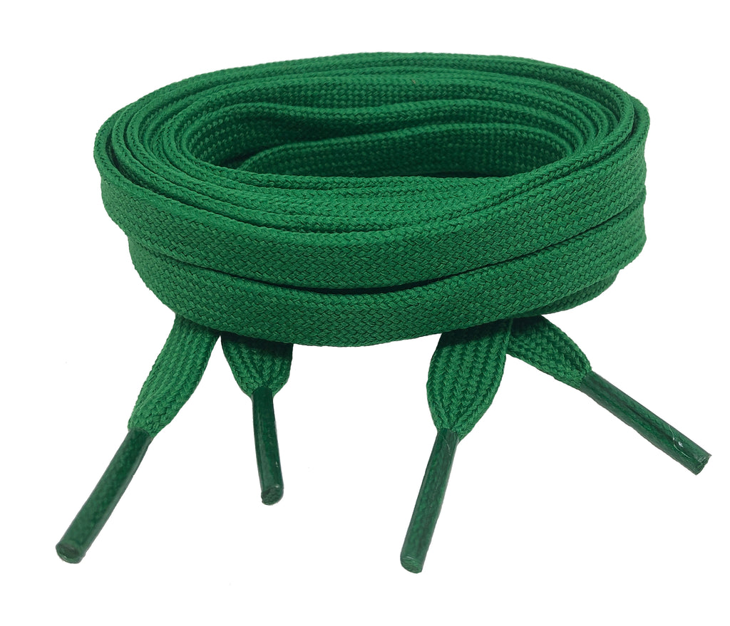 Flat Green Shoelaces 8mm wide