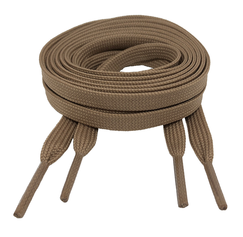 Flat Light Brown Shoelaces 8mm wide