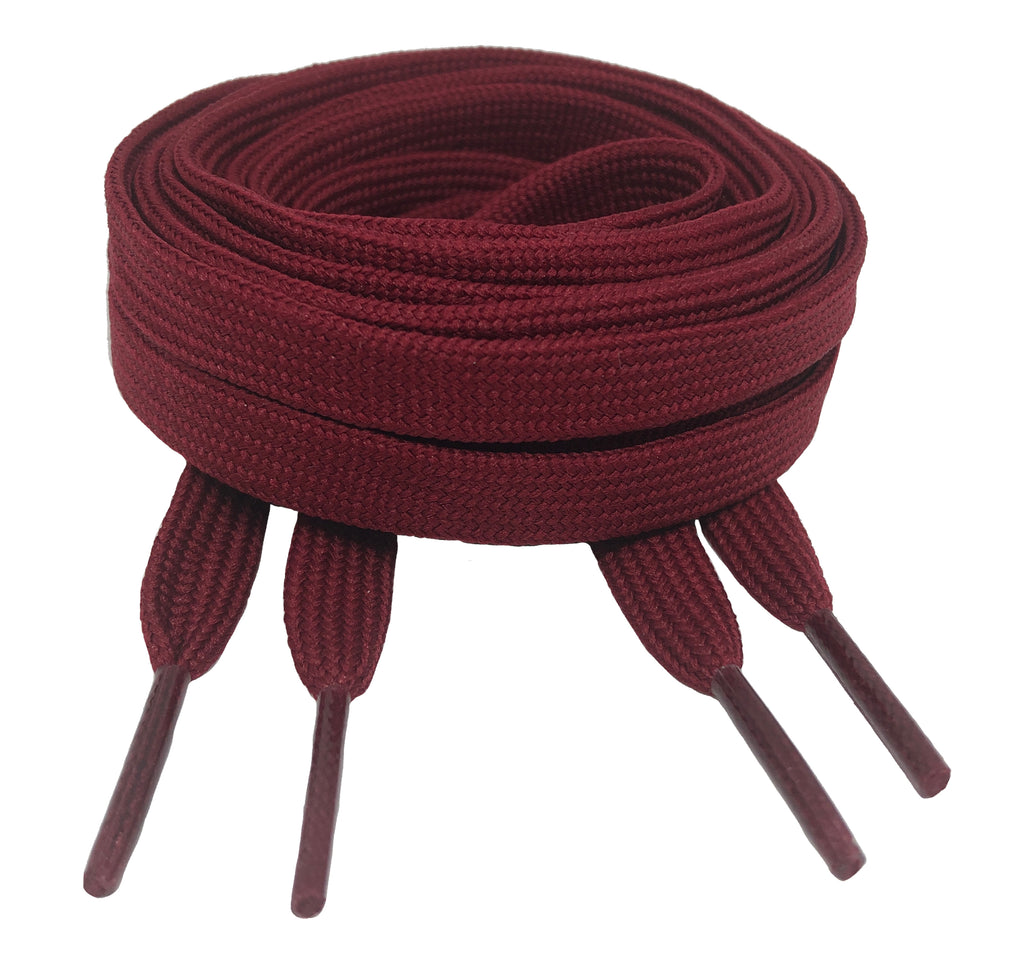 Flat Maroon Shoelaces 8mm wide