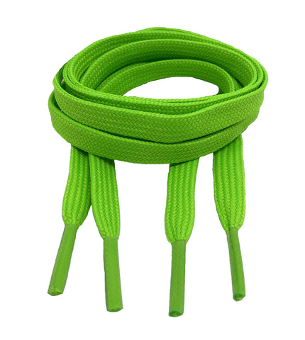 Flat Neon Green Shoelaces 8mm wide