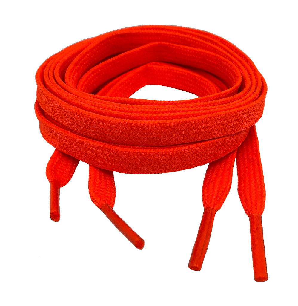 Flat Neon Orange Shoelaces 8mm wide