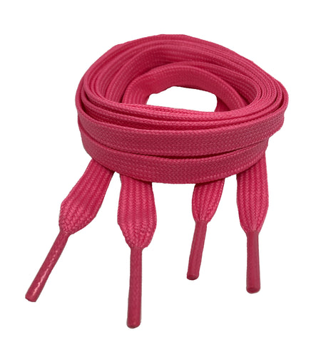 Flat Neon Pink Shoelaces 8mm wide