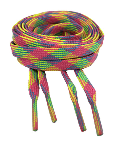 Flat Neon Rainbow Shoelaces 8mm wide