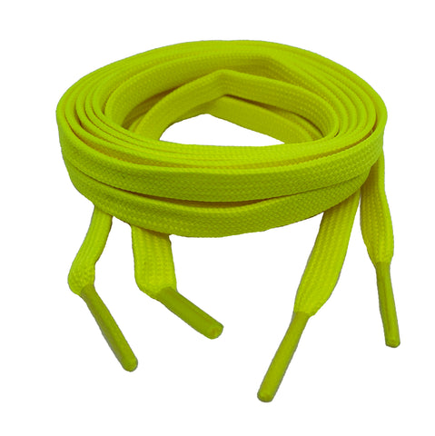 Flat Neon Yellow Shoelaces 8mm wide