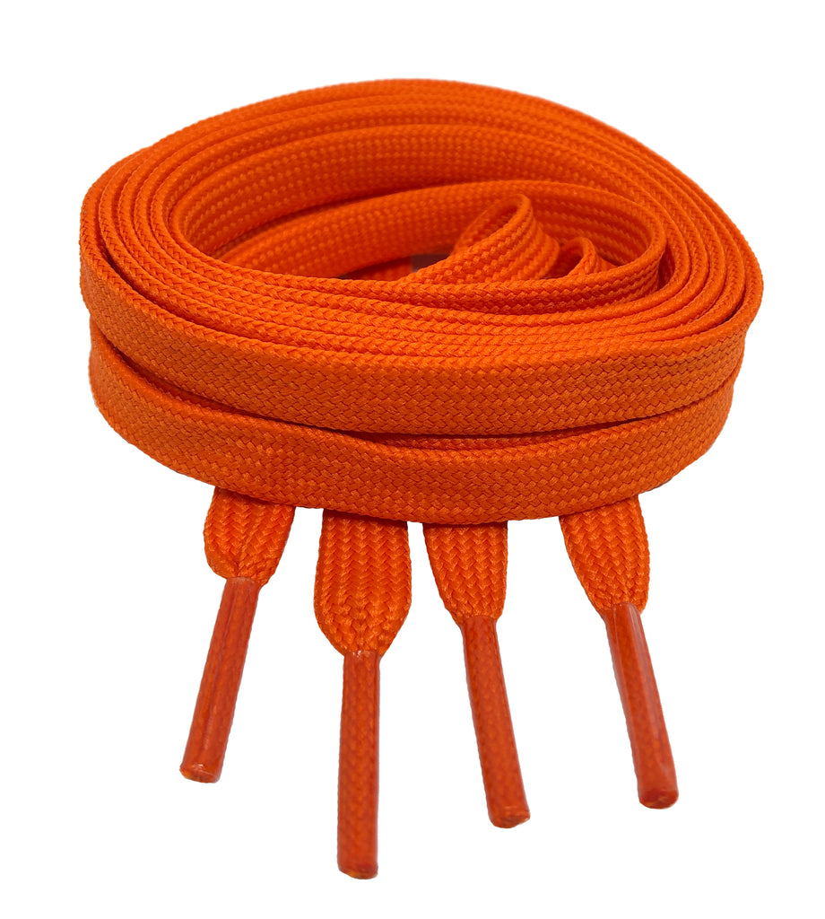 Flat Orange Shoelaces 8mm wide