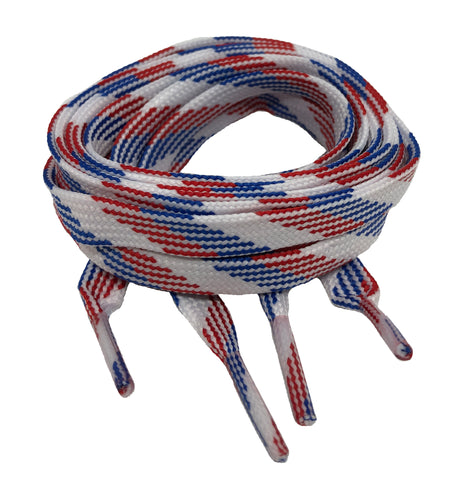 Flat Red White Blue Shoelaces 8mm wide