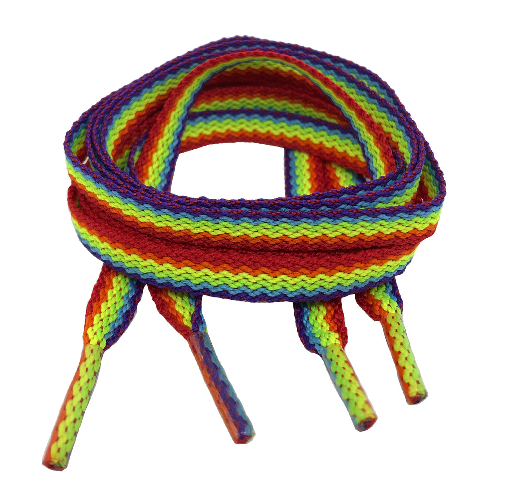 Flat Rainbow Shoelaces - 8mm wide