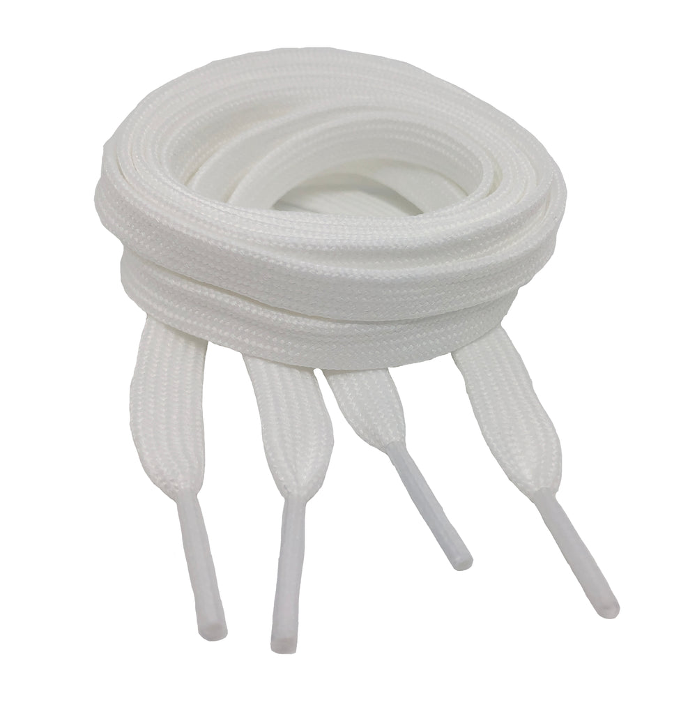Flat White Shoelaces 8mm wide