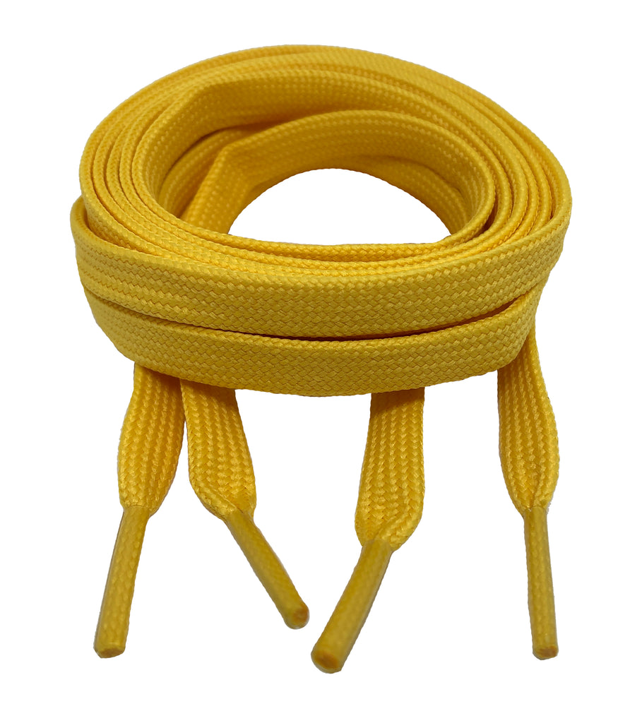 Flat Yellow Shoelaces 8mm wide