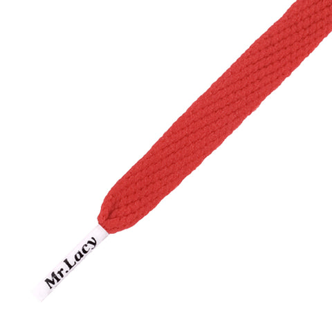 Mr Lacy Flatties - Flat Red Shoelaces with White Tip