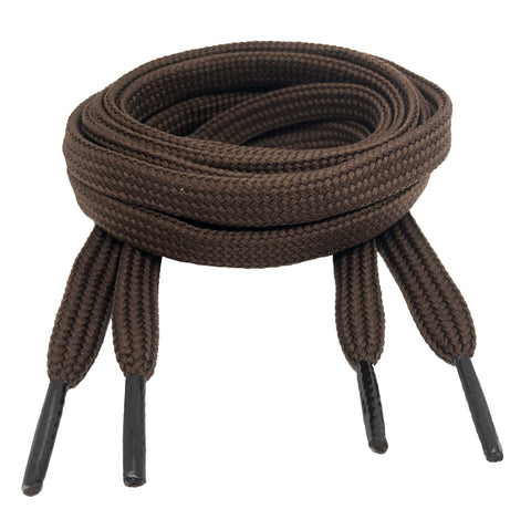 Flat Brown 10mm wide shoelaces