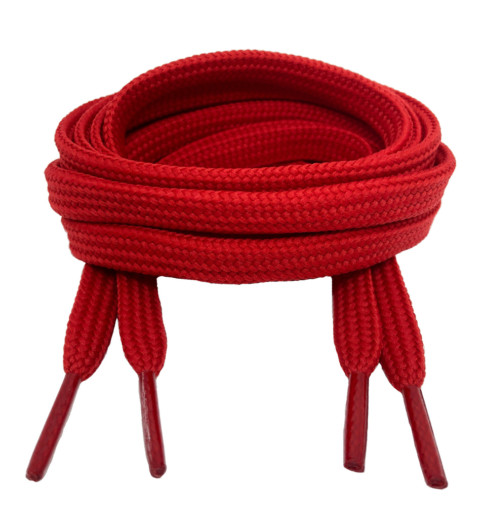 Flat Red 10mm wide shoelaces
