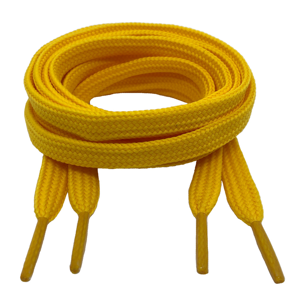 Flat Yellow 10mm wide shoelaces