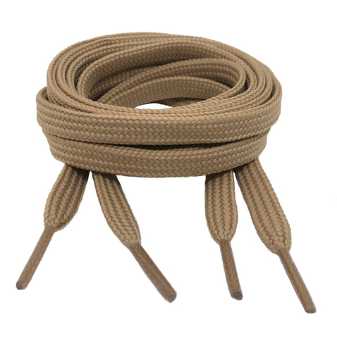 Flat Dark Beige 10mm wide shoelaces