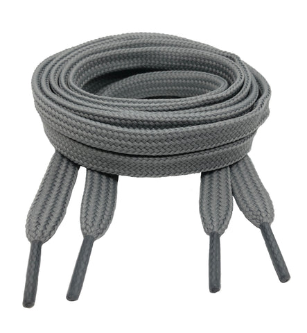 Flat Light Grey 10mm wide shoelaces