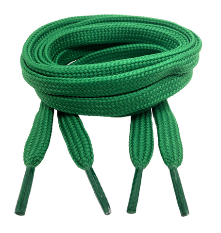 Flat Green 10mm wide shoelaces