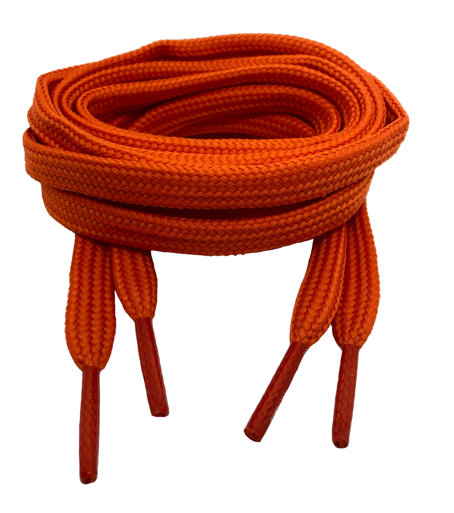Flat Orange 10mm wide shoelaces