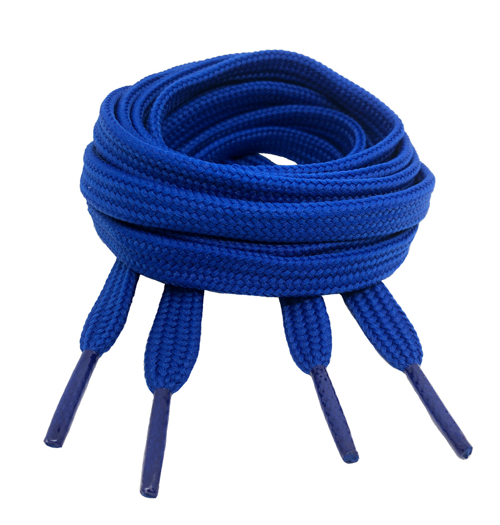 Flat Royal Blue 10mm wide shoelaces