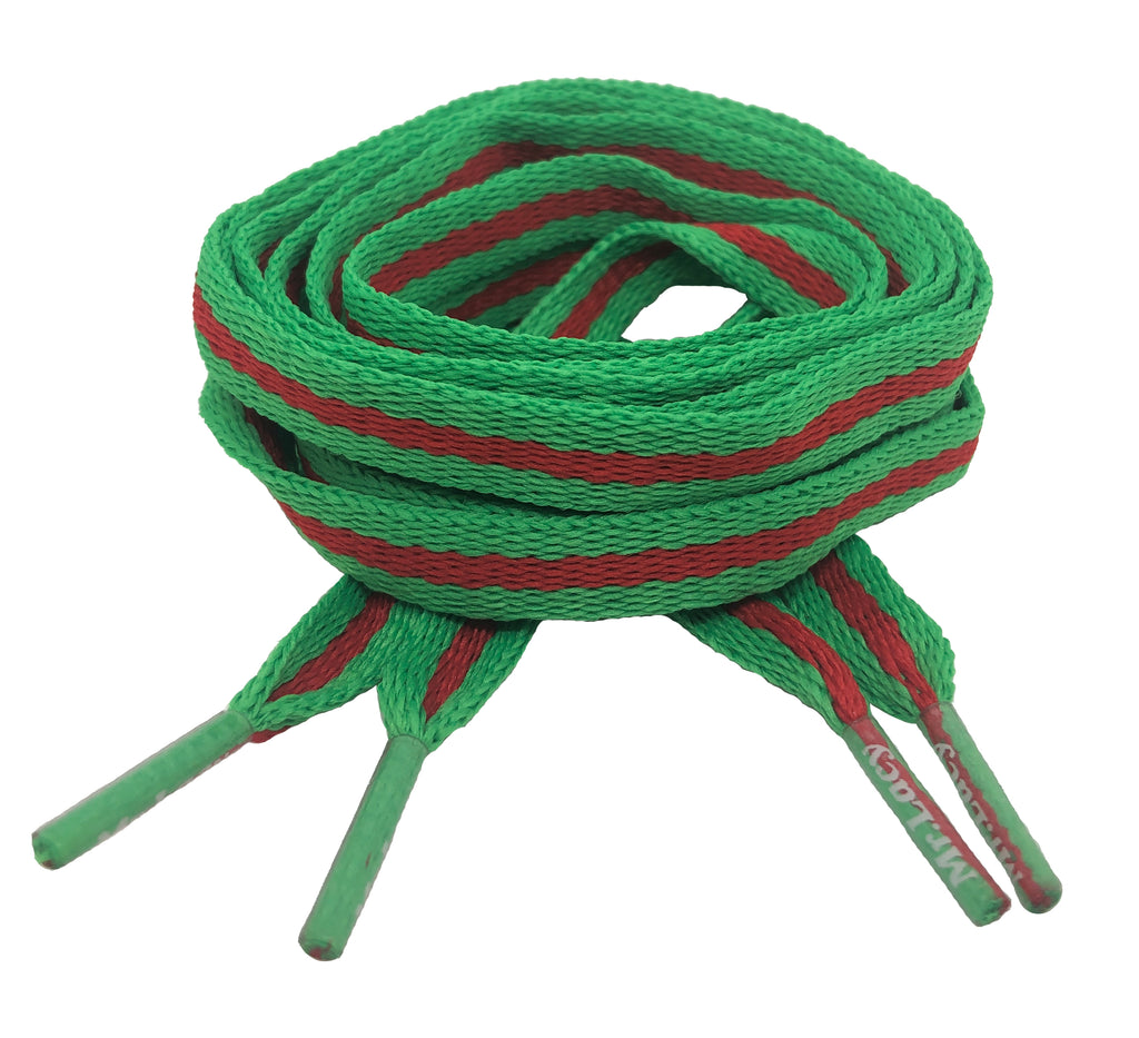 Mr Lacy Stripies - Flat Green and Red Shoelaces - 10mm wide