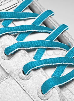 Baby Blue and White Oval Shoelaces
