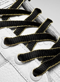 Black and Gold Oval Shoelaces