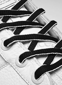 Black and White Oval Shoelaces