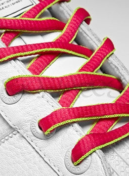 Hot Pink and Neon Green Oval Shoelaces