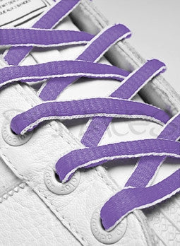 Lilac and White Oval Shoelaces