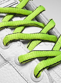 Neon Green and Black Oval Shoelaces