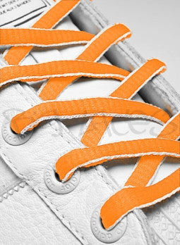 Neon Orange and White Oval Shoelaces
