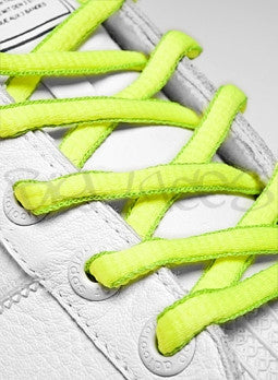 Neon Yellow and Neon Green Oval Shoelaces