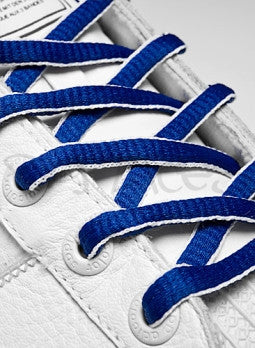 Royal Blue and White Oval Shoelaces
