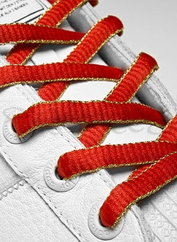 Red and Gold Oval Shoelaces