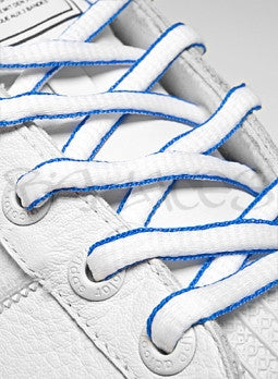 White and Electric Blue Oval Shoelaces