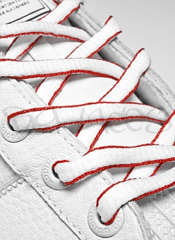 White and Red Oval Shoelaces