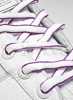 White and Violet Oval Shoelaces