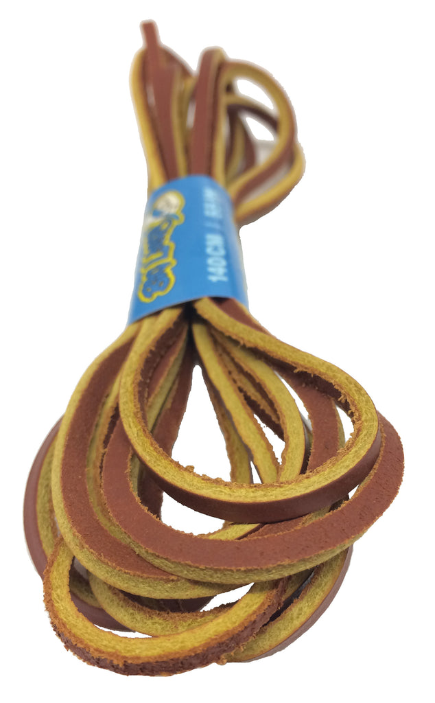 Light Brown Leather Shoelaces - 4mm wide