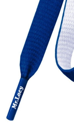 Mr Lacy Clubbies - Flat Royal Blue and White Shoelaces
